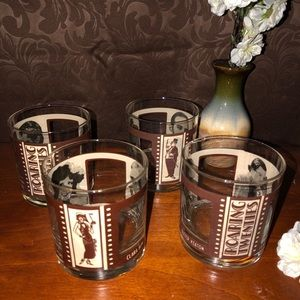 Other - Vintage ROARING 20s Bar SET OF 4 Glasses Houze Art